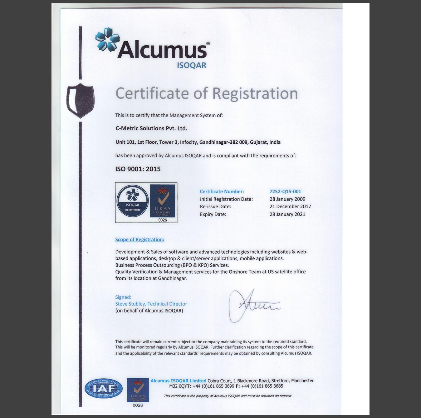 ISO 9001: 2015 Level Quality Control